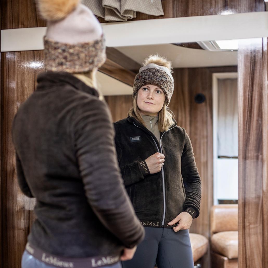 wintercollectie lemieux liberte fleece jacket mocha